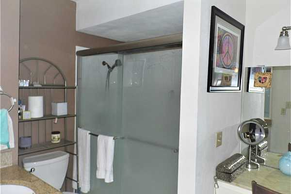 Photo #14 Primary bath with walking shower, two vanities and a large walk-in closet.