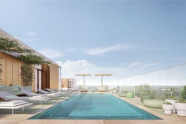 Photo #7 Rooftop Pool and Lounge Rendering. ***Please note renderings are representative in nature only and residence should be fully vetted in person for confirmation of finishes and views.