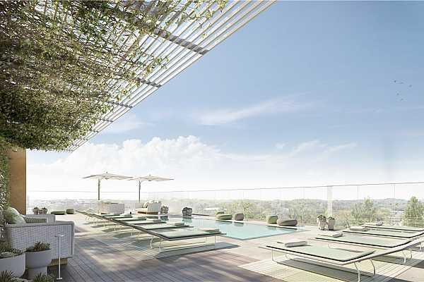 Photo #8 South-facing Rooftop Pool & Lounge Rendering ***Please note renderings are representative in nature only and residence should be fully vetted in person for confirmation of finishes and views.