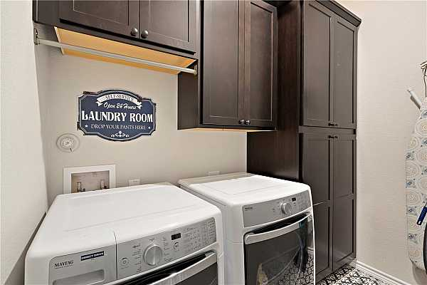 Photo #27 Laundry Room has built-in storage and is located on the 3rd floor with Primary and Secondary bedroom.
