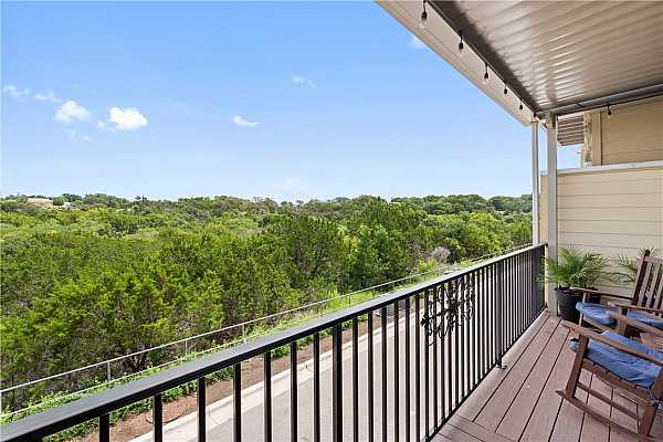 Photo #35 Enjoy the Equinox covered patio views of the North San Gabriel River hike and bike trails.