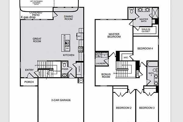Photo #5 Cantata floorplan ~ Structural Options added to 3008 Mary Elizabeth Drive include: extended covered patio with gas hook-up.