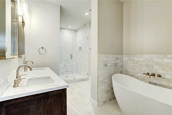 Photo #14 Master Bathroom - Double Vanity, Marble counters and shower, soaking tub