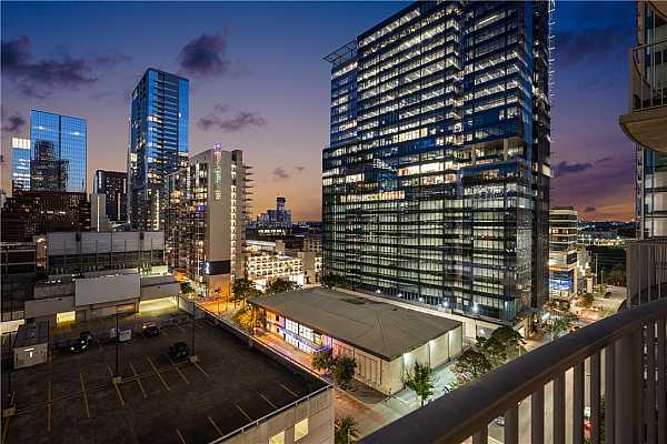 Photo #1 Downtown Austin, Texas views from the private patio space of unit 1105.