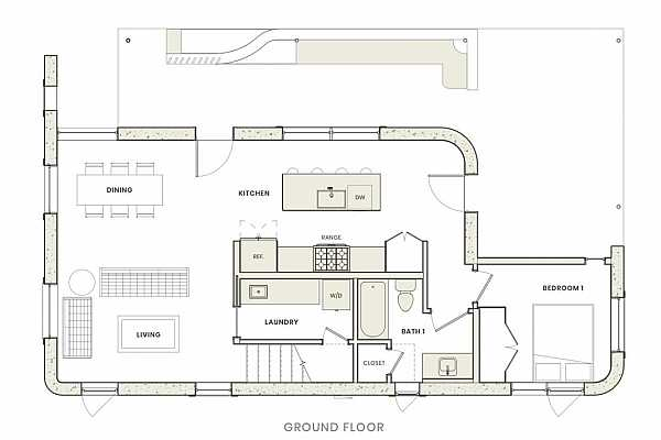 Photo #26 Flexible first–floor layout with abundant natural light, open living / kitchen / dining w/ a full bathroom / powder room, eat-in island, utility room, guest bedroom, ample storage as well as a covered patio