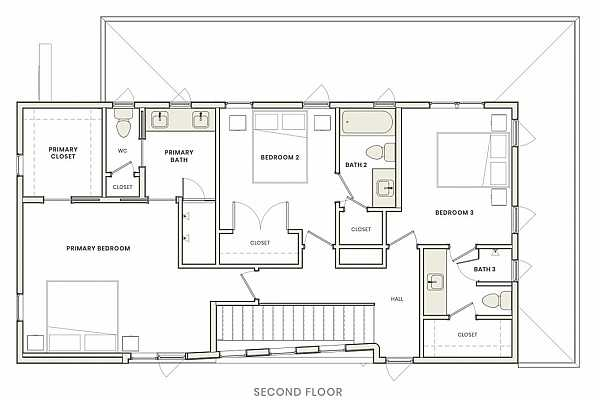 Photo #27 Second–floor layout with three (3) bedrooms & three (3) private, ensuite bathrooms