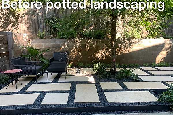 Photo #27 Back Patio Before Potted Landscaping - spacious manicured yard space