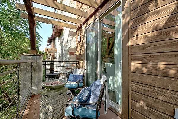 Photo #28 Want to enjoy a little tranquility - this is a nice place to hear the sounds of nature,  tree tops make for a slight bit of privacy but plenty of open panoramic views to enjoy still...   turn on your evening white string lights - feels like a bit  of holiday every single day...