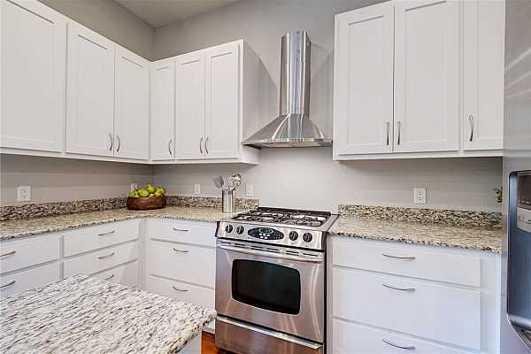 Photo #15 Stainless steel appliances including a gas range, vent hood, dishwasher and microwave